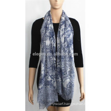 Blue Flower Printed Cotton Scarf