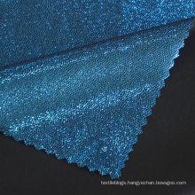 Hot Sale blue Blocking 82 Nylon 18 Spandex Fish Scale Dot Foil Fabric for Latin Dress