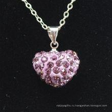 Новое прибытие Shamballa ожерелье оптовой форме сердца новое прибытие розовый кристалл глина Shamballa с серебряными цепочками ожерелье