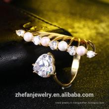 fabricant de bijoux en gros femmes accessoires nouveau design anneau de coeur bague de perles