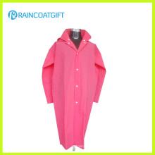 Fashion Pink Soft EVA Women′s Raincoat with Long Sleeve Rvc-159