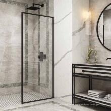 Seawin Modern Bathroom Tamoered Glass Frosted Single Black Frame Shower Doors