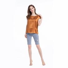 Chemisier en soie à manches courtes style classique T-shirt décontracté
