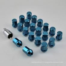 Écrou de roue Hex de 20 + 1PCS avec surface bleue anodisée