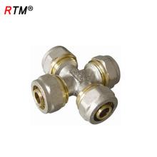 B17 alta qualidade de 4 vias de encaixe de tubulação de bronze com rosca encaixe de compressão de latão