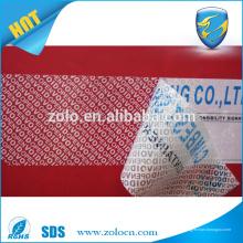 Fita de vedação de segurança de falsificação de mercado grossista em etiquetas anti-inviolabilidade