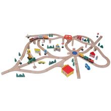 145pcs hölzerner Eisenbahn-Zug, der Satz-Spielzeug spielt