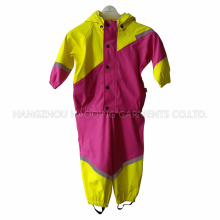 PU Lemon and Rosy Contrast Raincoat for Children