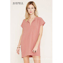 Simple Pure Color Short Sleeve Casual Women′s Dress