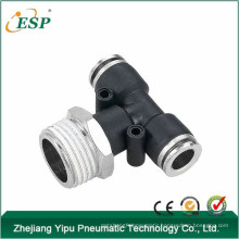pneumatic fittings male branch tee with brass sleeve