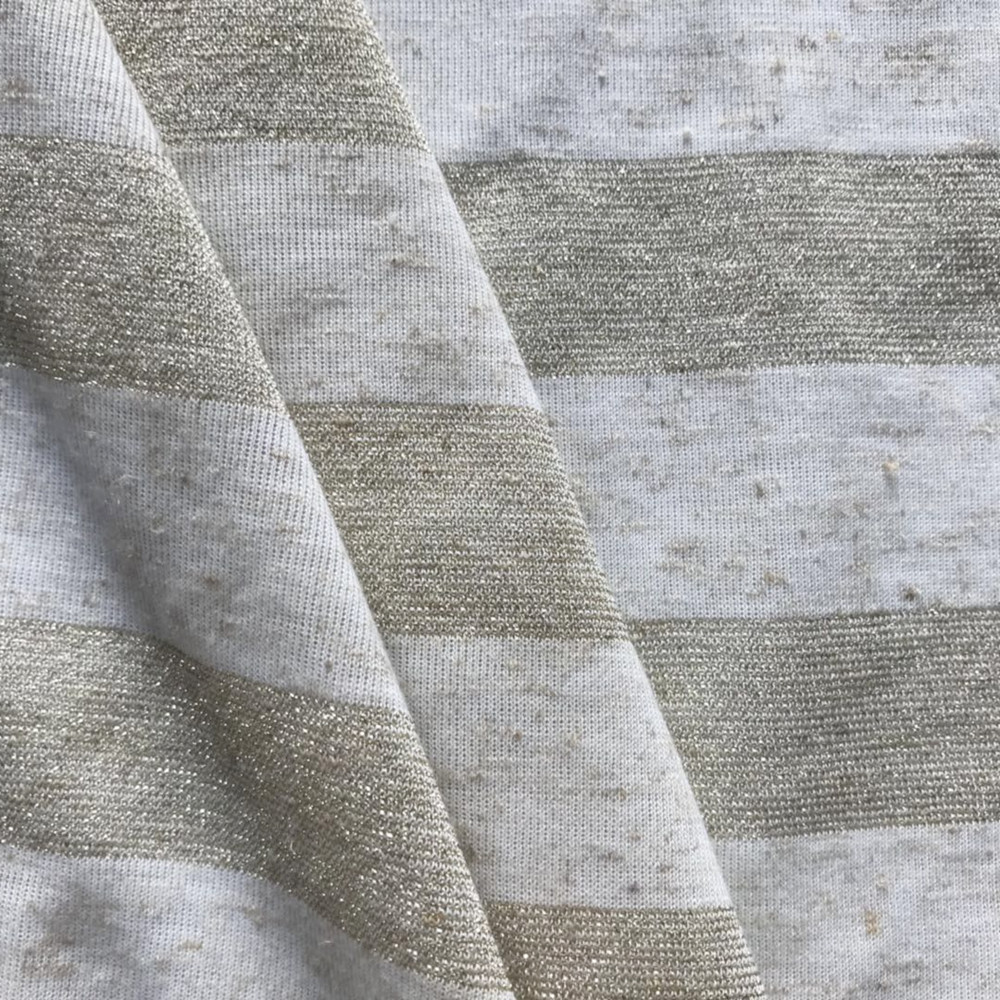 linen lurex rajutan stripe single jersey melange effect