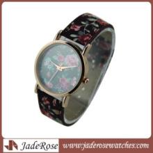 Mulheres quartzo relógio com pulseira de couro