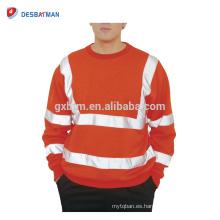 Mens Hi Viz Sudadera con cuello redondo de seguridad Visibilidad alta Workwear Work Jumper Sweat
