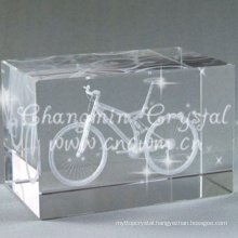 Wholesale One Corner Cut K9 3d Laser Etched Crystal Cube For Birthday Gift