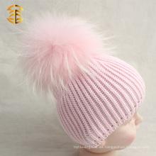 Forme el sombrero genuino de la gorrita tejida del CC del bebé de Pom Pom de la piel del mapache de la manera