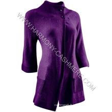 Cardigan long en cachemire tricoté pour femme (HM-SW09019)