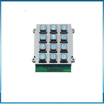 LED Backlight Metal Zinc Alloy 3x4 Numeric Keypad