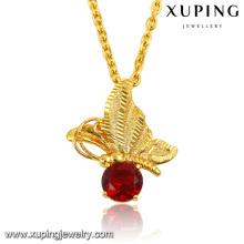 32578 Fashion Elegant CZ Diamond 24k insecto de la libélula del dragón de la joyería de imitación de oro colgante de cadena