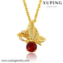 32578 Fashion Elegant CZ Diamond 24k Gold-Plated Insect Dragonfly Imitation Jewelry Chain Pendant