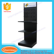 Custom removable black penboard powder coated adjustable makeup display stand with hooks for retail store market