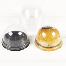 Einzelne transparente Plastikkuchenbox mit runder Kuppel