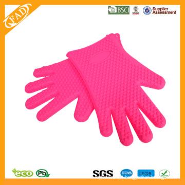 2014 Hot vendendo FDA padrão resistentes ao calor alimentos grau silicone cinco dedos do forno Mitts