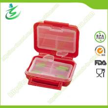 BPA Free Bag Shape Pill Box avec 8-Case, Square Pill Box