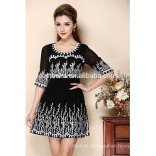 Handgemachte Silk Stickerei-Frauen-Kleider 2016 Neue Ankunfts-Großverkauf-Kleidungs-spätestes Kleid