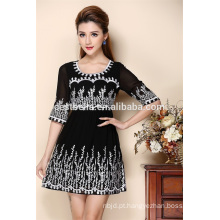Vestidos de seda de bordado de seda feminina 2016 New Arrival Wholesale Clothing Latest Dress