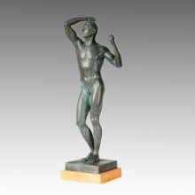 Escultura de Bronce Clásica La Edad de Bronce Estatua de Latón, Rodin TPE-245