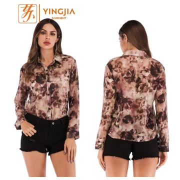 Moda feminina impressa chiffon camisas blusa single-breasted