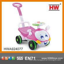 Novo Design Pink Cor Baby Ride Em Carros Com Empurrar Handle Com Luz & Música