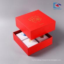 Custom logo coated paper luxury moon cake gift packaging food grade packaging box