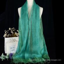 Lenço de seda cru da camada dobro da cor lisa das mulheres baratas com borlas