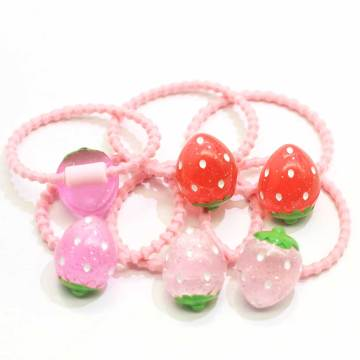 Wholesale Women Girls Resin Fruit Strawberry Hair Accessories Elastic Hair Ties Ponytail Holders Elastic Hair Bands Accessories