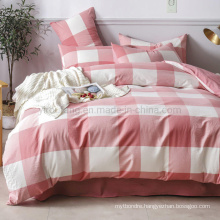Home Textile Cotton Bed Sheet High Quality Nordic Style Luxury Pink Plaid