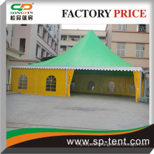 14x14m Large Summer Pavilion tent with green roof and yellow sidewalls for 350 seaters row sitting