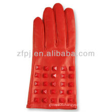 Cool style european size red color ladies leather glove