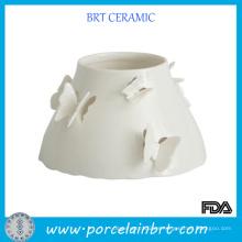 Tarros de vela de lujo grandes de cerámica de la mariposa
