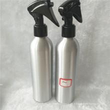 Garrafa de alumínio 250ml prata com pulverizador de gatilho plástico preto