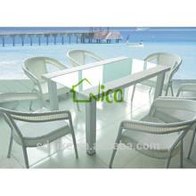 DS-(233) rattan indoor furniture modern square rattan indoor dining table