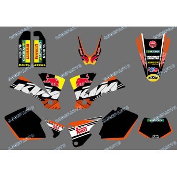 New Style (0422 Bull) Team Graphics & Backgrounds Decals für Ktm Exc 125/200/250/300/400/450/525 2003