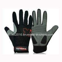 Guante de deportes completo del gel del acolchado del equipo del guante del equipo de deportes de la bici del finger que completa un ciclo