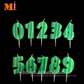 Final Seller 100% Paraffin Wax Dark Green Stripe Printed Green Lucky Number 6 Candle