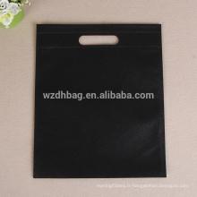 Sac genal promotionnel non tissé réutilisable en gros de couleur noire réutilisable