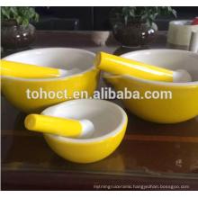 White/ Yellow/ Greeen/ Red color glazed Ceramic Mortar and Pestle set/ TOHO ceramic
