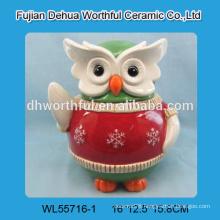 Handmade home decoration ceramic owl figurine for wholesale