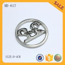 MB617 Серебряный круглый дизайн пользовательских мешок металлической пластиной