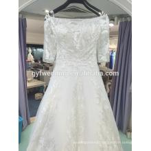 2017 new elegant and generous word shoulder lace wedding dress bridal gown Vestidos De Noiva LJ-10010