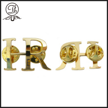 Gold metal letter shape pin badge
